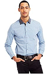Kenneth Cole Mens Iridescent Check Button Up Shirt