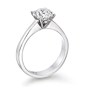 Solitaire Diamond Ring 1 ct, E Color, SI2 Clarity, GIA Certified, Round Cut, in 14K Gold / White