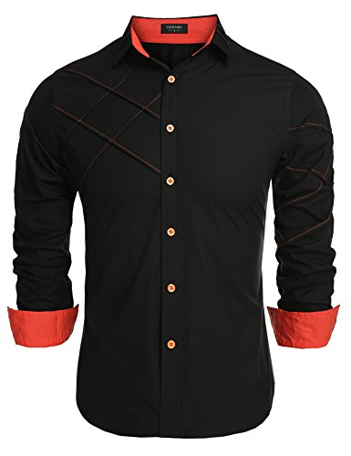 Coofandy Men's Fashion Slim Fit Dress Shirt Long Sleeve Casual Shirts
