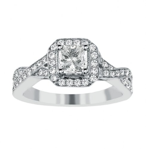 1.25 CT TW Braided Pave Set Princess Cut Diamond