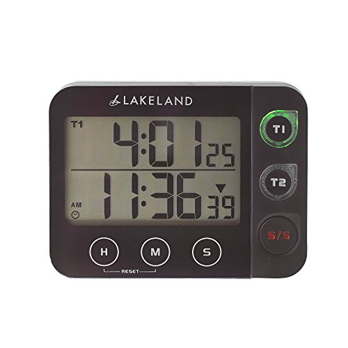 Lakeland Magnetic Digital Duo Kitchen Timer U0026 Clock (Time 2 Things At Once!)