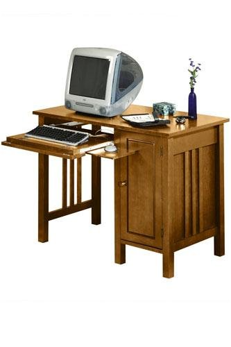 Mission Computer Desk W/door Standard Honey