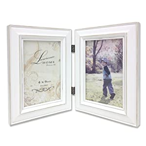 Lawrence Frames Hinged Double Picture Frame, 4 by 6-Inch, Weathered White