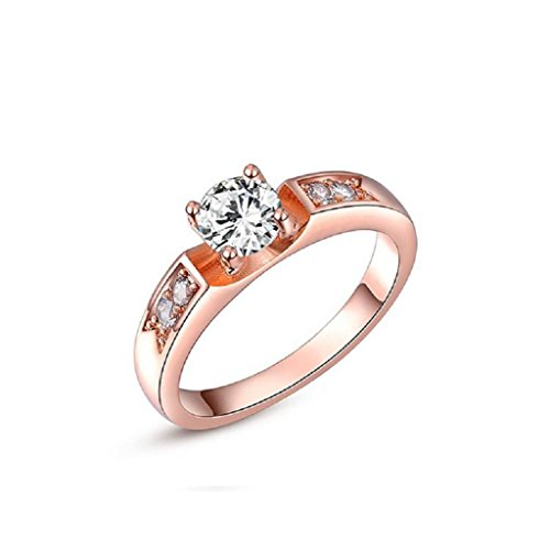 Angelady Rose Gold Plated Round Diamond Solitaire Engagement Ring for Women Best Gifts Idea