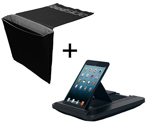 Discover Bargain iBedside & Prop 'n Go Slim: Tidy Bedside Caddy & Multi Angle Lap Desk (Black & Gray...