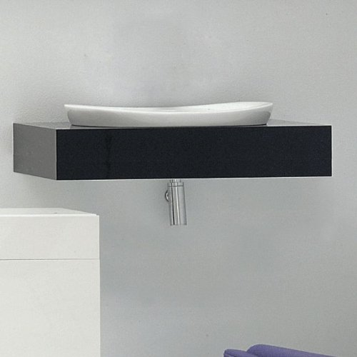 "Lacava Wall-mount wooden countertop with polished stainless steel brackets, 43 3/8""W, 21""D, 4""H. Cut out only provided upon r"