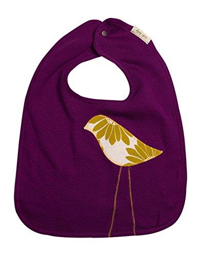 Zebi Baby Organic Cotton Traditional Bib (Plum Bird Applique)
