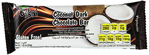 Oskri Coconut Bar, Original With Dark Chocolate, 1.9-Ounce (Pack Of 20)