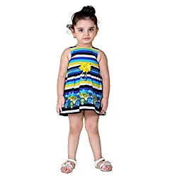 NAVEENS Multicolour Cotton Round Neck Party wear Dress for Girls