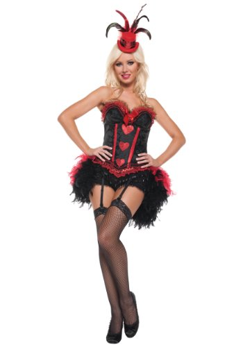 Mystery House Cabaret Showgirl Costume, Black, Small