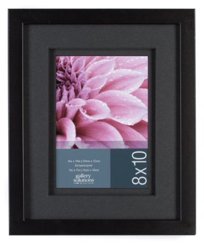 Gallery Solutions Wall Frame with Airfloat Mat, 8 by 10-Inch Matted Opening to Display 5 by 7-Inch Photo, Black (7 X 10 Frame compare prices)