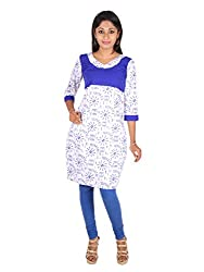 White and Blue Worli print Empire cut Cotton Kurta