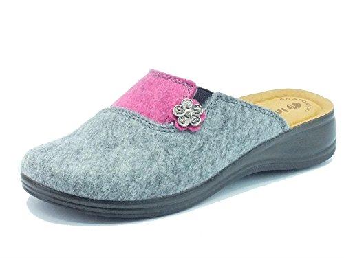 Pantofole InBlu per donna in tessuto fuxia e grigio (Taglia 38)