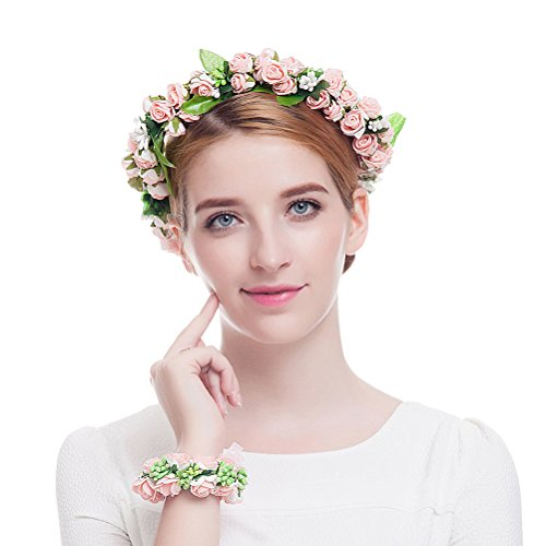 Valdler Foam Paper Rose Flower Crown with Floral Wrist Band for Wedding Festivals Pink