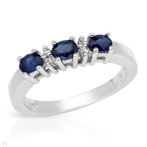 Ring With 0.83ctw Precious Stones - Genuine Sapphires and Topazes Made of 925 Sterling silver (Size 8)