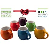 Primrose Colorful Mugs by Madero Kitchen - Set of 6 Ceramic Mugs Small Mouth 14oz - 100% Secure Packaging - Keep Liquid Hot for Longer