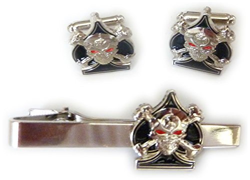 Ace of Spades Skull & Crossbones TIE BAR CLIP CUFFLINKS SET