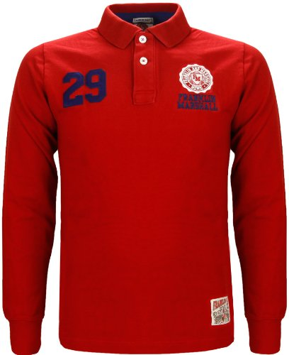 Franklin Marshall Mens Long Sleeve Rugby Polo Top Red (Medium)