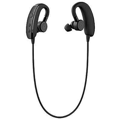 Bluetooth Sport Headphones, Otium® Wireless Bluetooth V4.1 Earbuds - IPX4 Sweatproof - Adjustable Earbuds - Retractable TPU Earhook - Stereo Bass Earphones with Microphone (Black)