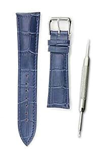 【本革製 クロコダイル型押し ネイビー 22mm】時計ベルト 時計バンド ストラップ 交換 腕時計【バネ棒外しセット】