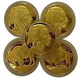 Lot of 5 - 2009 $50 Gold Buffalo Replica Coins