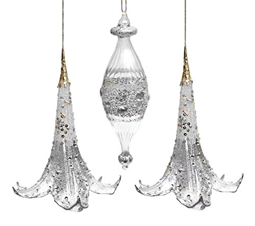 Holiday Lane Silver Flower Bell and Glass Silver Drop Ornaments; Set of 3