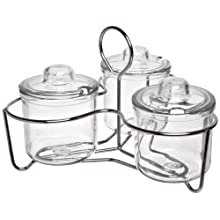Carlisle 457307 Glass Caddy with 3 J-Jars & Lids, Clear