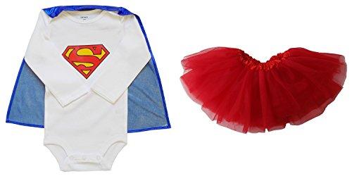 [So Sydney Baby, Infant Girl Superhero Onesie with Detachable Cape & Tutu Skirt (M (6-12 Months), Supergirl - Blue &] (Baby Girl Marvel Costumes)