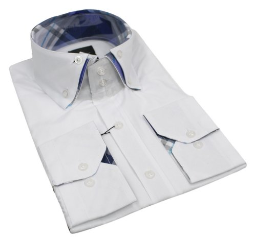 Mens Italian Design White Double Button Collar Shirt Very Slim Fit Smart or Casual