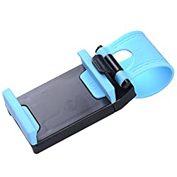 Storite Car Steering Wheel Mobile Phone Socket Holder for iPhone 5 5C 5S / iPhone 4 4S /Samsung Galaxy S IV / Galaxy SIII / Perfect Fits for 4.8 inches Mobile Phones - Black/Blue