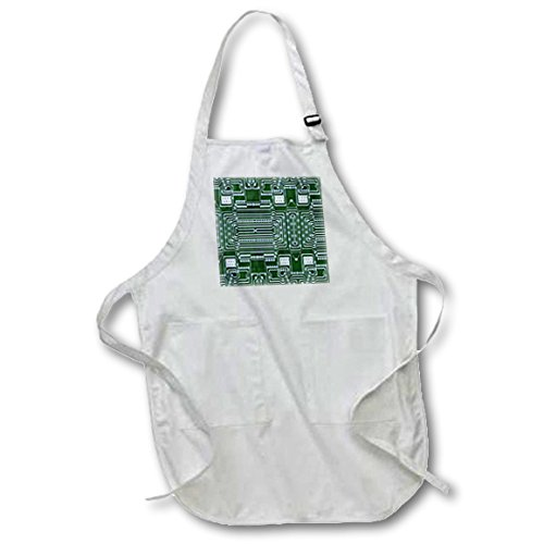 Florene - Decorative III - Print of Circuit Board Close Up - Medium Length Apron with Pouch Pockets 22w x 24l (apr_204250_2)