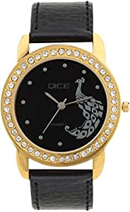 "Dice ""Princess 8019"" Fashionable, Elegant, Contemporary, Tasteful Attractive Watch for Women. Fitted with Black Dial, Gold Plated Jewel Stone Case with Anti Allergic Leather Strap"