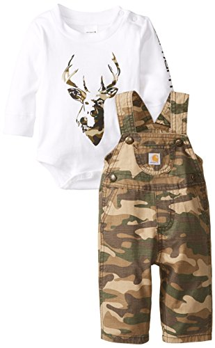 Carhartt Baby-Boys Washed Ripstop Bib Overall Set, Green/Brown Camo, 6 Months front-727100