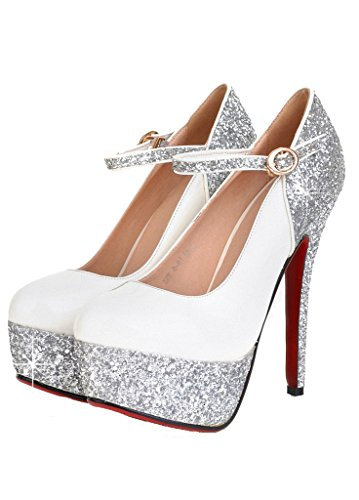 Women's White Glitter Patent Leather Thin Heel Pumps Frozen Elsa Shoes
