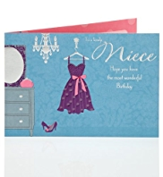 Pretty Party Dress Niece Birthday Card