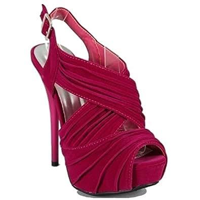 Amazon com qupid hot pink pleated pumps slingback platform stiletto