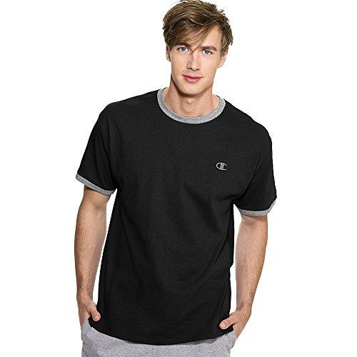 Champion Cotton Jersey Men's Ringer T Shirt_Black/Oxford Gray_X-Large