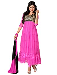 Suchi Fashion Heavy Embroidery Pink And Black Net Semi Stitched Anarkali Suit