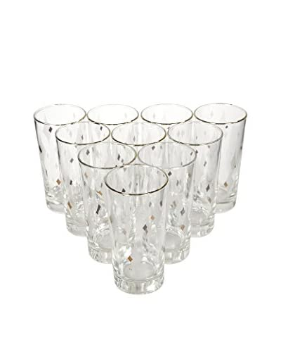 2 B Modern 1960s Set of 10 Harlequin-Designed Glass Tumblers, Multi