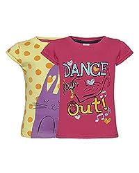 Punkster Rani Pink & Lemon T-Shirt Combo For Girls