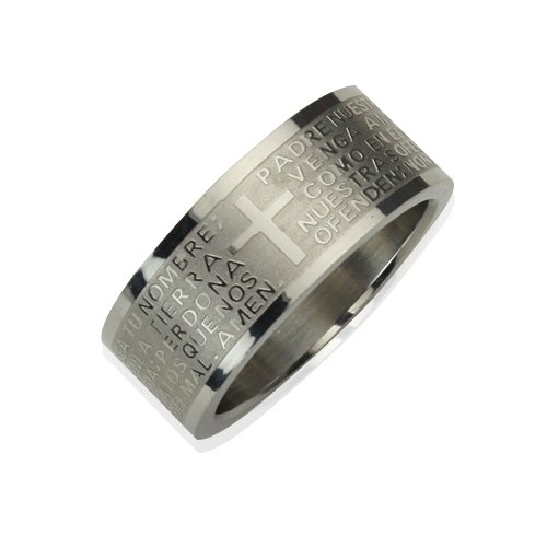 Men Stainless Steel Spanish Lord's Prayer 8mm Band Ring