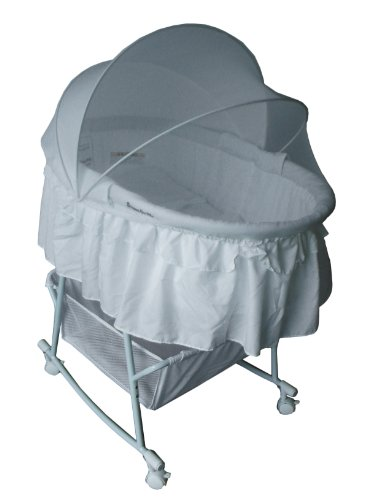 Dream On Me Lacy Protable 2 In 1 Bassinet And Cradle, Green/White front-988143