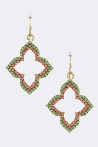Karmas Canvas Angular Floral Cut Out Earrings (Mint/Pink)