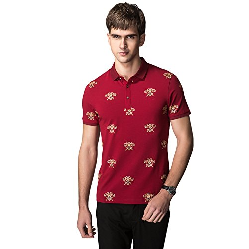 HANMA Men's Chinese style Graphic POLO Shirt (M, red)
