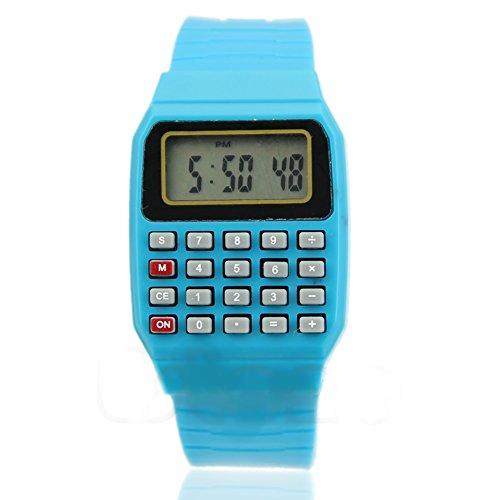 Heroneo® Cute Children Silicone Date Multi-Purpose Electronic Wrist Calculator Watch (Blue)