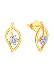 Malabar Gold And Diamonds 18k Yellow Gold And Diamond Stud Earrings
