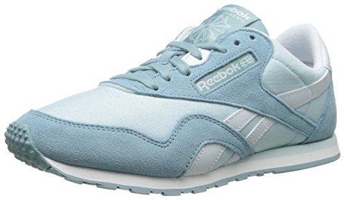 Reebok Women's CL Nylon Slim Colors Fashion Sneaker,Whisper Blue/Lunar Blue/Reflection Blue/White,7 M US