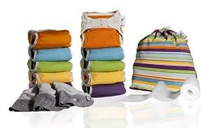 Close Parent 3121120014 - Pack de 10 pañales de tela en colores vivos con interior de minkee + 3 absorbentes de noche + 80 forros + 1 bolsa impermeable por Close Parent