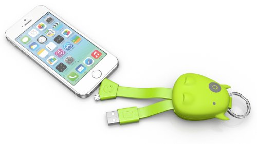 Zeetron Cute Hippo Rubber Compact Usb 2 in 1 Usb Cable (Usb to Lightning for Iphone 6, 6 Plus, 5s 5 Ipod) (Usb to Micro for Samsung, Htc, Nokia, Blackberry, Lg) (Green)