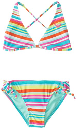 Roxy Big Girls' Surf's Up Striped Halter Set, Turquoise, Medium/10 image